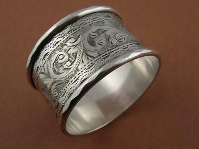 Wonderful English Sterling Silver NAPKIN RING Birmingham c1923 engraved patterns