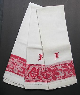 3 Antique Show Towels Turkey Red & White F Monograms Lily & Pansy Florals
