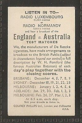 PHILLIPS-CRICKET FIXTURE CARD- AUSTRALIA v ENGLAND - EXC