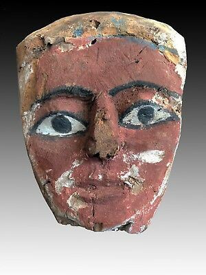 Ancient Egyptian Wooden Mummy Mask - 9 3/4   Inches