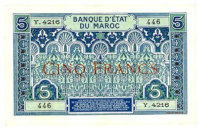 Morocco … P-9 … 5 Francs … ND(1924) … Choice*AU+*.