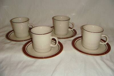 "8 Piece Set of Vintage Japan Stoneware 4 Cups & 4 Saucer Plates 6.25"" Lot 2"