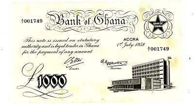 Ghana ... P-4 ... 1000 Pounds ... 1958 ... Choice (~)*AU*.