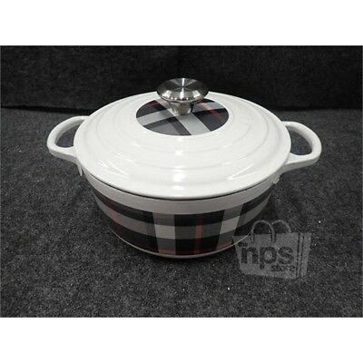 "Le Creuset Round 9.5"" Casserole/Oven & Lid Enameled Cast Iron Tartan Grey 17236"