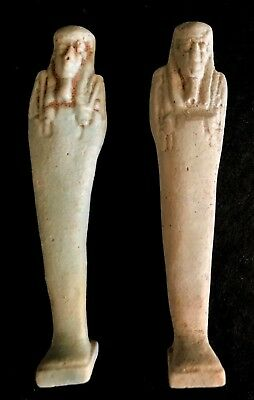 Ancient Two  Egyptian Faience White Ushabty