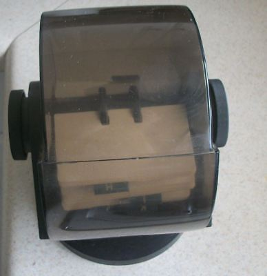 Vintage Rolodex Circular Walnut  Swivel Card File with Cards & Tabs Made in  USA