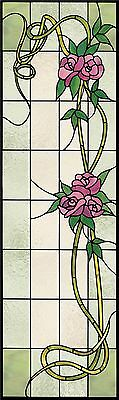 Faux stained glass window cling door sidelight roses pretty sunblock privacy