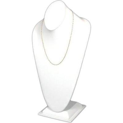 """White Faux Leather Necklace Bust Jewelry Display 14 1/2"""""""