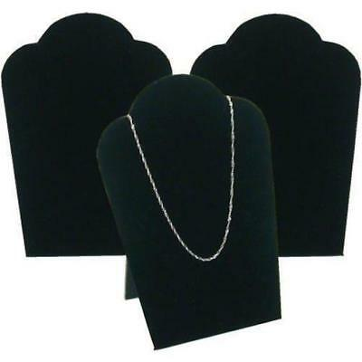 "3 Black Velvet Necklace Pendant Jewelry Bust Display Easel 3 3/4"" x 5 1/4"""