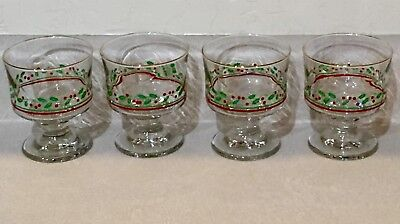 Arby's Christmas Glasses Set of 4 dessert glasses holly and berry with gold trim