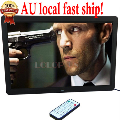 """17"""" HD 1080P LED Digital Photo Picture Frame Movie Player Remote Control Black"""