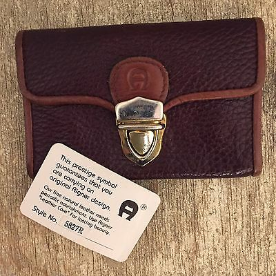 ETIENNE AIGNER Mini Wallet Card Holder Brown Burgundy Leather Brass Clasp