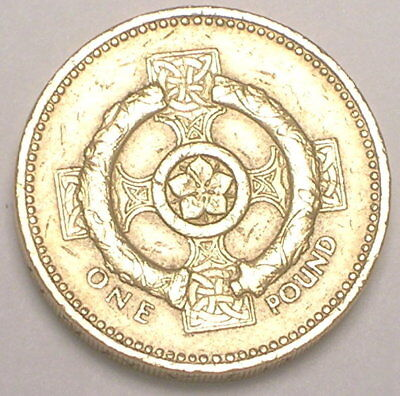 1996 UK Great Britain British One 1 Pound Celtic Cross Coin