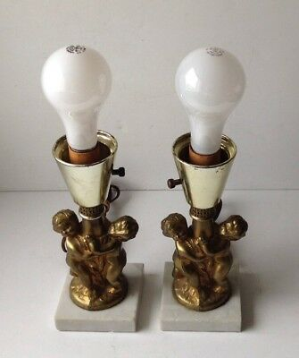 Two Antique Vintage Figural Cherubs Table Lamp Bases Heavy Brass/Marble Work