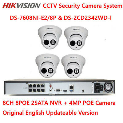HIKVISION 8CH NVR DS-7608NI-E2/8P 4MP POE CCTV Security Camera System Kit