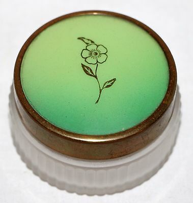 Vintage Art Deco Circle Glass Make Up Jar Gold Brass Green Lid 1.5""""