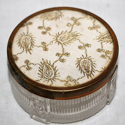 "Vintage Art Deco Round Glass Make Up Jar Gold Brass Cloth Lid 3.5"" x 2"""
