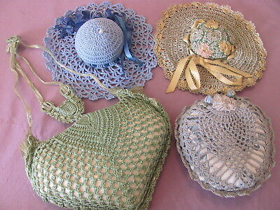 Lot of 4 Vintage Crochet Pin Cushions or Sachets - Hats-Conch Shell-Heart-Like