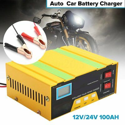 12V/24V Auto Motorcycle Car Battery Charger Pulse Repair Lead Acid Jump Starter