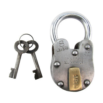 Large Metal 1912 RMS Titanic Model Padlock Vintage Antique Style Chest Lock Keys