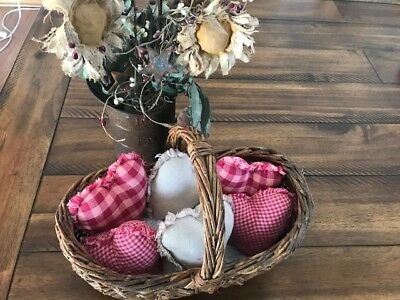 Plaid Ornies Bowl Fillers PrImITive Hearts Pink Tan Handmade Farmhouse Valentine