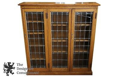 """Antique Early 20th C. Oak Leaded Glass Bookcase Petite 49"""" China Display Cabinet"""