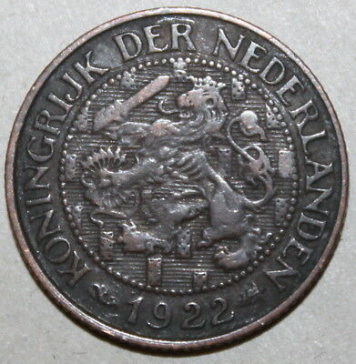 Dutch 1 Cent Coin, 1922 - KM# 152 - the Netherlands - One Seahorse