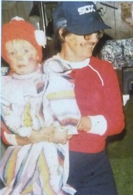 Vtg 1970s Halloween Photo - Child Held By CREEPY Woman With Painted-On Mustache