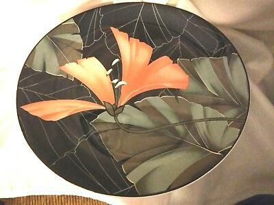 Sango Artistica Michael Markham Dinner Plate Tropical Floral Exotic Black Coral