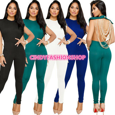 USA Peal chain Backless Sexy Women O-Neck Skinny Party Club Jumpsuit Rompers(M)