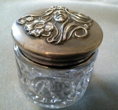 Antique Cut Glass Powder Jar American Sterling Silver Maiden Flowers Repousse