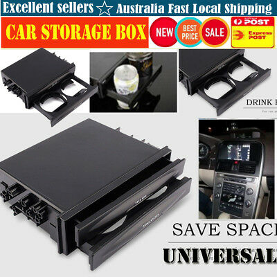 New Double Din Radio Pocket Drink-Cup Holder Storage Box for Universal Car truck