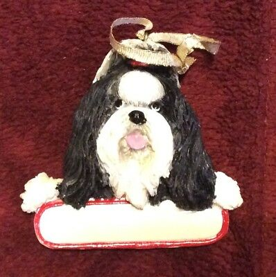 E&S IMPORTS Christmas Pet Lover SHIH TZU Black Dog Ornament Gift Personalize It!