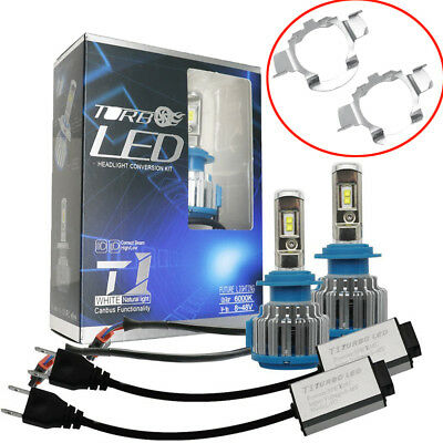 Car H7 LED Bulbs Headlight Conversion Kit 70W 8000LM Canbus With Adapter Holder