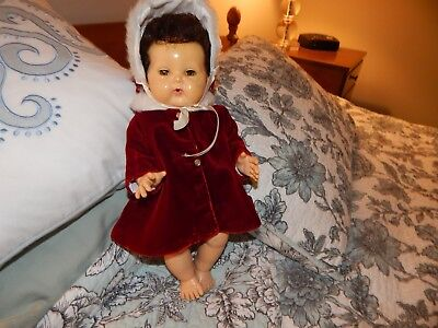 Vintage Red Velvet Coat And Bonnet For Tiny Tears/dy Dee. Baby Doll Wonderful