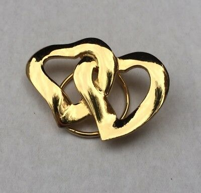 "Jeri Lou Vintage Dress Scarf Clip DOUBLE HEARTS RARE GOLD TONE 2"" FREE SHIPPING"