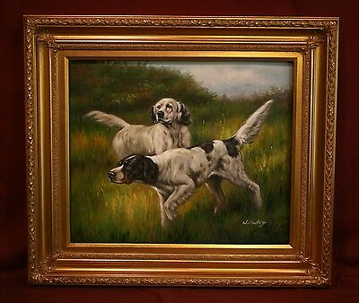Beautiful Pair Of English Setters Hunting Framed Oil Painting