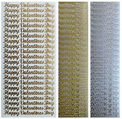 HAPPY VALENTINES DAY Peel Off Stickers Love Card Making Gold or Silver