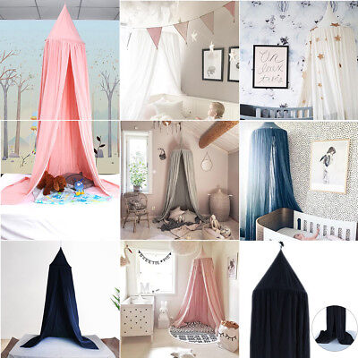 Round Dome Kids Bed Crib Canopy Cotton Linen Mosquito Net Bedding Curtain Decor