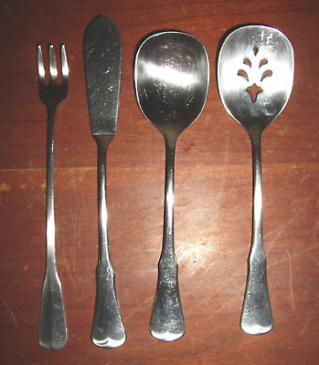 Oneida Community Patrick Henry Stainless Sugar Jelly Spoons, Pickle Fork, Butter