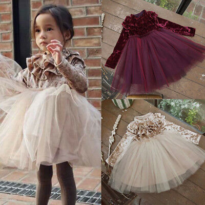 Princess Kids Baby Girl Dress Velvet Fleece Party Wedding Dress Tulle Tutu Dress