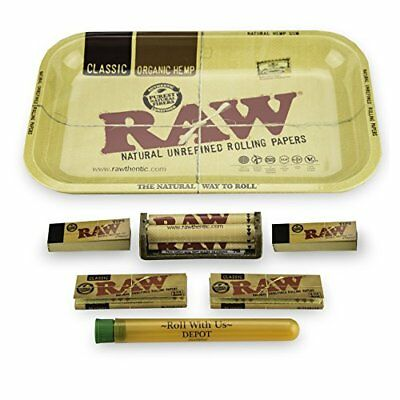RAW Rolling Tray Combo Includes 1 1/4 79MM Classic Papers Roller Tips and Roll