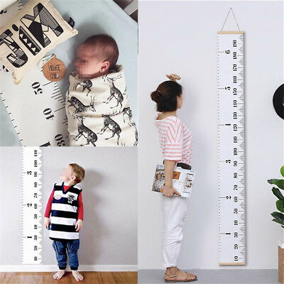 Wooden Kids Growth Chart Children Room Decor Wall Hanging Height Measure Ruler H
