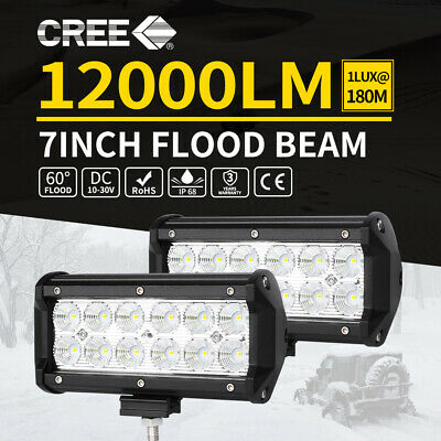 PAIR 7inch CREE LED Work Light Bar Flood Spot Fog Driving Lamp Offroad 4WD Ford