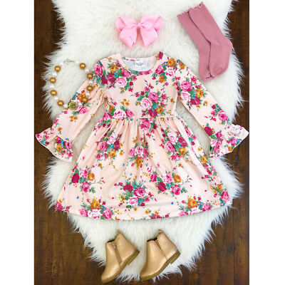 Toddler Kids Girl Floral Princess Skirt Long Pagoda Sleeve Party Pageant Dresses