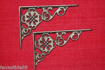 (10) Raw, Flower, Shelf Brackets, Cast Iron, Shelving, Remodel, Corbels B-11