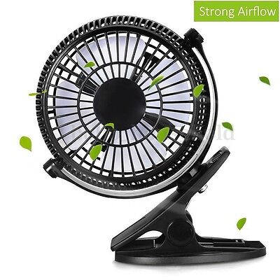 Mini 7'' Clip-on Table Fan Strong Airflow USB Powered Cooling Quiet Office Desk