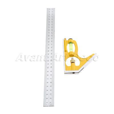 Adjustable Sliding Combination Square Angle Ruler Measuring Tool Stainless Steel