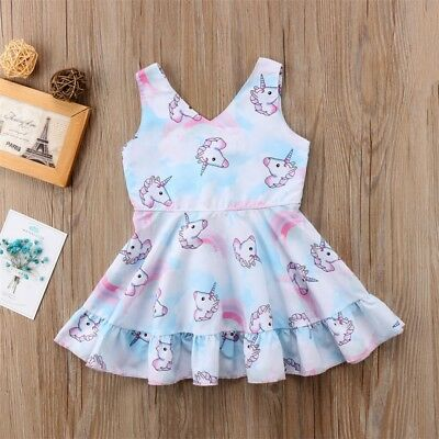 Unicorn Girl Princess Tutu Dress Baby Kid Pageant Party Wedding Birthday Dresses