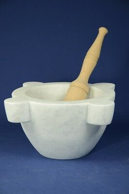 "Mortaio marmo Carrara ""Genovese"" 30 cm pestello legno.Marble mortar wood pestle"